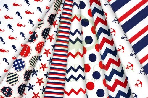 Red & navy marine cotton fabric set / Zestaw marynarski