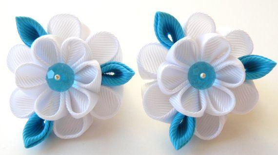 Kanzashi fabric flowers. Set of 2 ponytails . White and by JuLVa