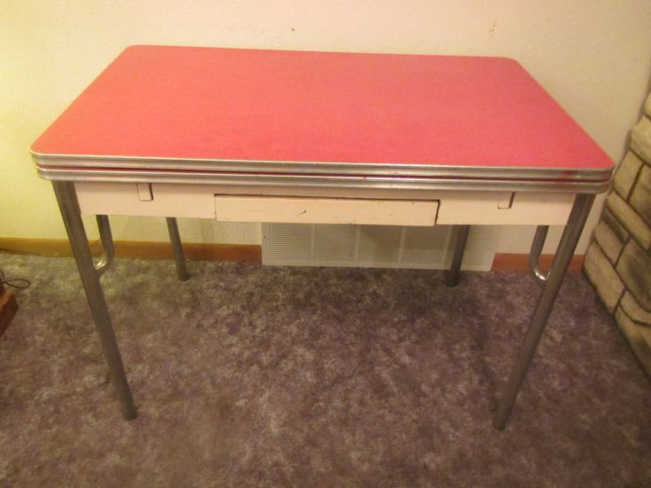 vintage 1950s Kitchen Table with pull out sides * wood with metal legs by mauryscollectibles on Etsy