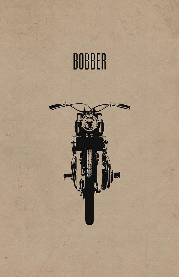 Impresión de motocicleta Bobber por InkedIron en Etsy