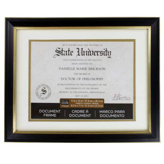 Liz: Need THREE of these :) Whatever is decent size and 50% off at Hobby Lobby | Studio Décor® Document Frame With Mat, Black and Gold