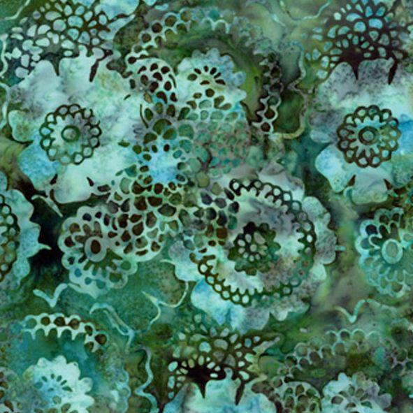 Bavlněná látka Batika květy kulaté zelená BB