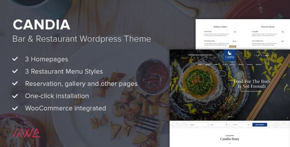 Candia is a beautiful and very attractive, stylish and professional WordPress theme with one-click demo installation perfect for any Restaurant.