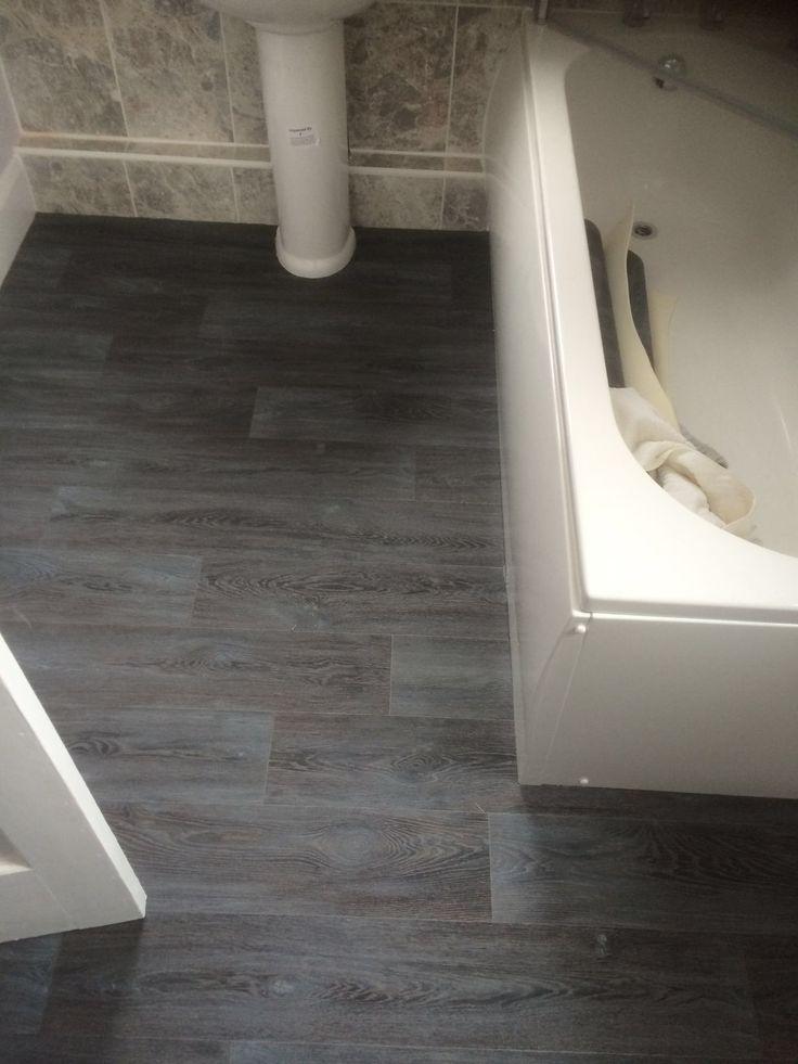 Dark Grey Laminate Flooring Effect Vinyl Bathroom Flooring