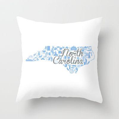 UNC North Carolina State - Blue and Gray University of North Carolina Design Throw Pillow by
