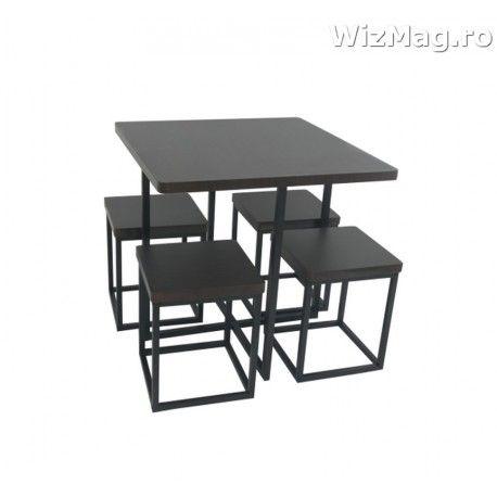 Masa bucatarie WIZ cu scaune mbs-6 wenge