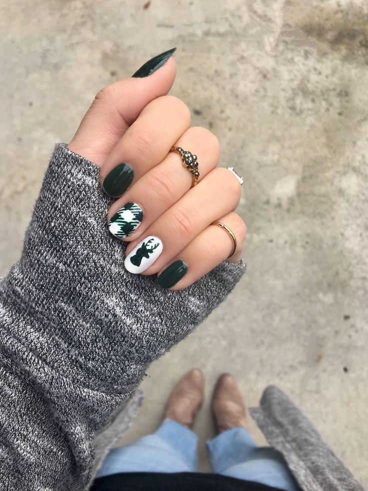 Buffalo Check  Deer Head Nails beauty christmas holiday nail art winter