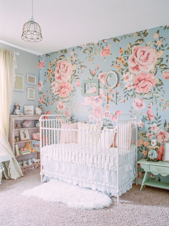 Nothing beats an awesome floral wallpaper for your Baby Girl Room Ideas!