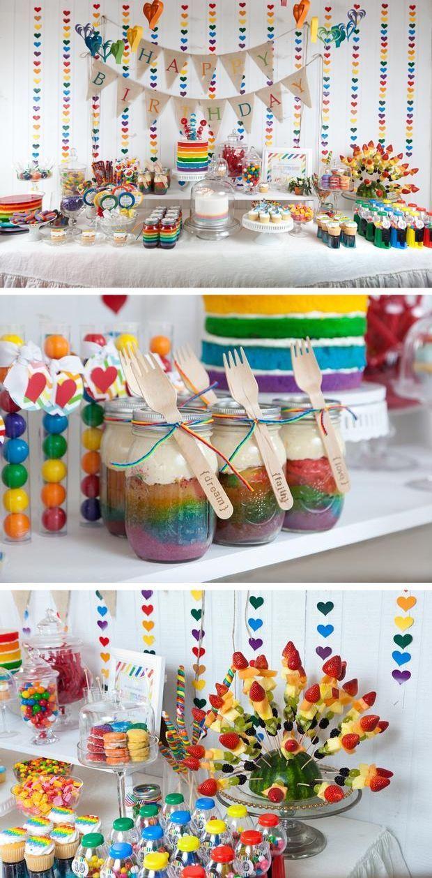 M s de 25 ideas fant sticas sobre cumplea os de arco iris for Decoracion para pared infantil
