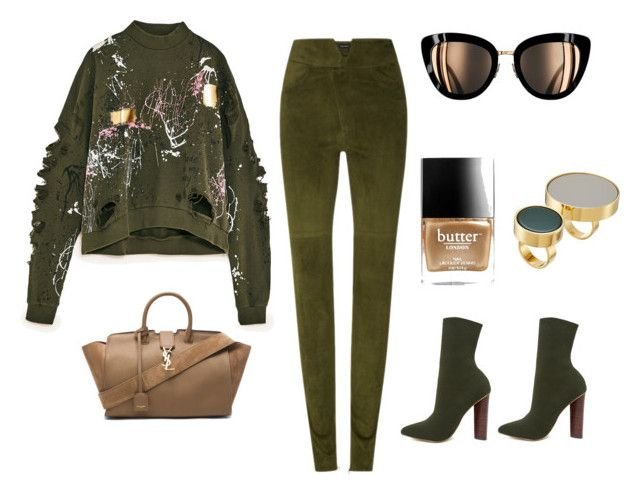 """""""Khaki day"""" by lawastyle on Polyvore featuring Isabel Marant, Yves Saint Laurent, Steve Madden, Butter London and Marni"""