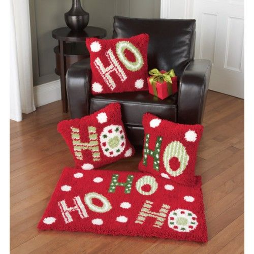 Ho Latch Hook Rug Pillow Kit Christmas Seasonal Crafts Pinterest Rugs Hooking And Kits
