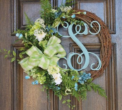 Green and turquoise wreath, Spring wreath, Monogram wreath, Summer wreath, Year round wreath