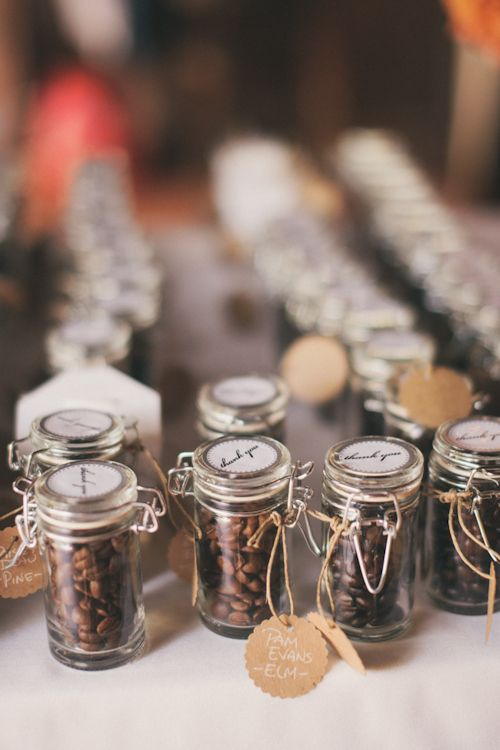 Love these adorable coffee bean favors! photo by Heather Jowett Photography | junebugweddings.com