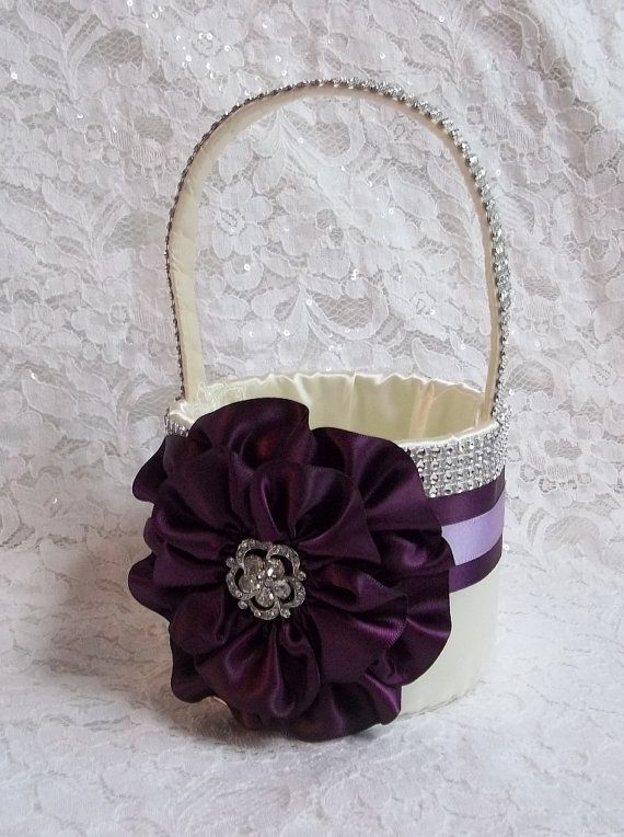 Flower Girl Basket Basket  Eggplant Lilac & by AllAHeartDesires, $75.00