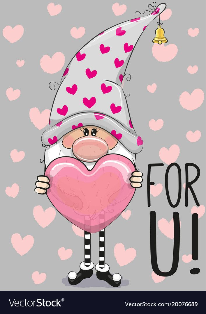 Cute Boy In Rain Wallpaper Cute Cartoon Gnome With Heart Royalty Free Vector Image
