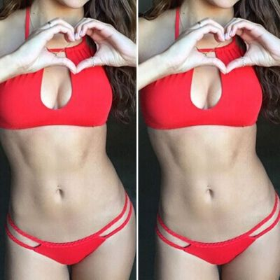 Sexy new red bikini black string swimwear bandage strappy biquini triangl thong swimsuit beach wear maillot de bain
