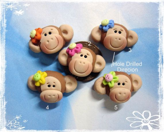 Cute Monkey Polymer Clay Charm Bead, Scrapbooking, Bow Center, Pendant, Cupcake topper, Magnet, Ring