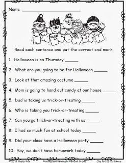 Halloween worksheets for 2nd grade--Free end punctuation worksheet