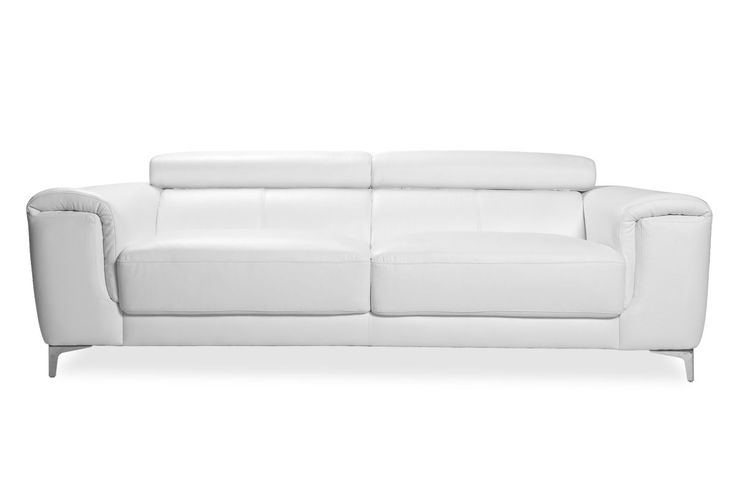 Canapé cuir design trois places avec têtières relax blanc NEVADA - Zoom