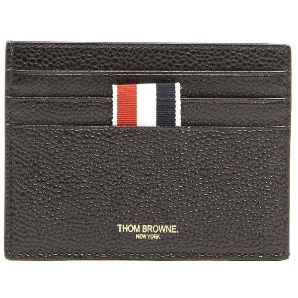 THOM BROWNE Leather Cards Holder ($340) ❤ liked on Polyvore featuring men's fashion, men's bags, men's wallets, mens leather wallets, mens card holder wallet, mens leather card case wallet, mens leather credit card holder wallet and mens card case wallet