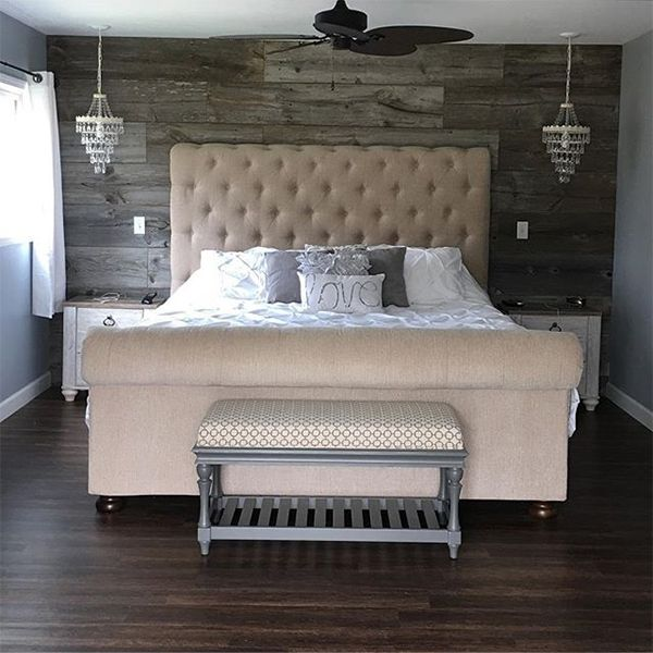 You want rustic glam? You got it. Let's all admire this beautiful room by @danielle_artley. Make sure you shop the sumptuously chic Windville upholstered bed.