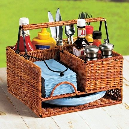 Wicker Picnic Organizer, perfect for the RV Cute!! I've been trying to find one that holds full size melamine plates.