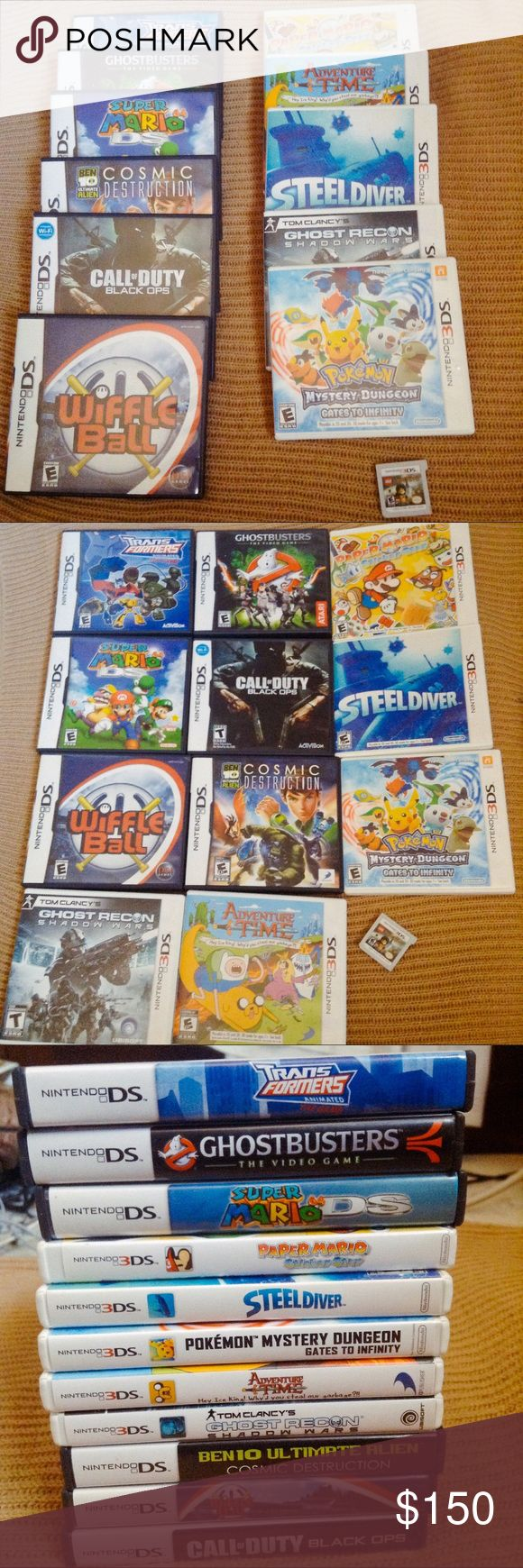 ✨Nintendo DS & 3DS Games Lot✨ 12-Game Lot includes: (DS) Transformers, Ghostbusters, Super Mario 64, Ben 10 Ultimate Alien: Cosmic Destruction, Wiffle Ball, and Call of Duty: Black Ops  (3DS) Paper Mario Sticker Star, Steeldiver, Pokémon Mystery Dungeon: Gates to Infinity, Adventure Time: Hey Ice King! Why'd you steal our garbage?!!, Tom Clancy's Ghost Recon Shadow Wars, and LEGO: Lord of the Rings  Note: Paper Mario has no manual, LEGO Lord of the Rings is CARTRIDGE ONLY, and Transformers…