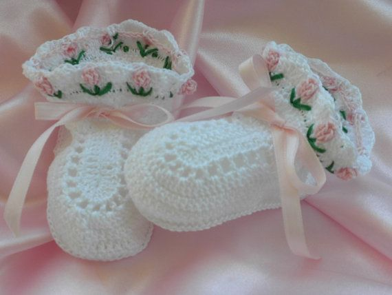 Crocheted Baby Booties Christening Booties Blessing Booties