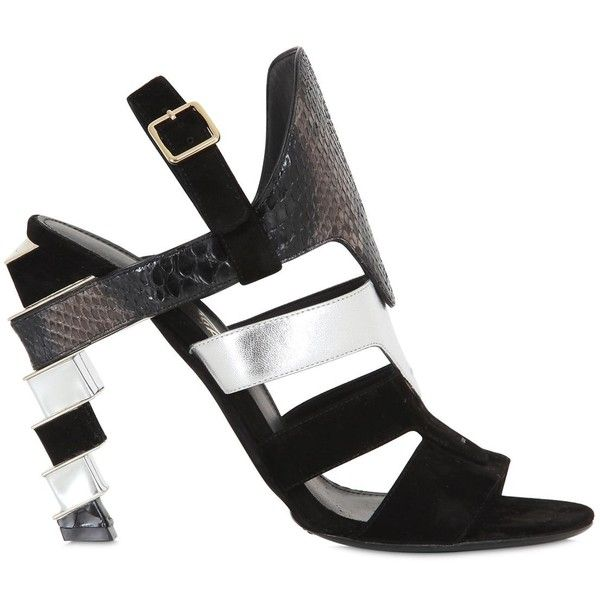 SALVATORE FERRAGAMO, laos suede & python sandals, Black/silver,  Luisaviaroma - Sculptured metal heel with suede and python details. Python  skin coloring may ...