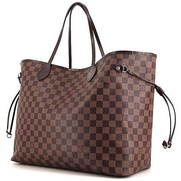 Louis Vuitton Neverfull large model shopping bag in brown damier... ($910) ❤ liked on Polyvore featuring bags, handbags, tote bags, canvas tote, canvas shopping tote, brown leather tote bag, leather totes and shopper tote