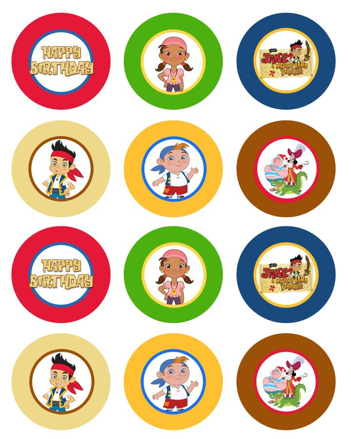 Jake and the Neverland Pirates printable cupcake toppers.