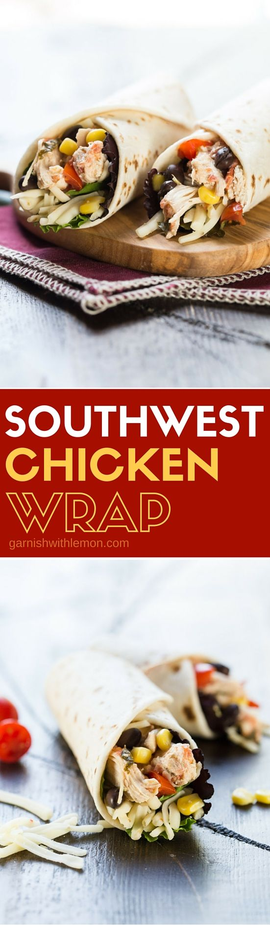 Filled with protein, this Southwest Chicken Wrap recipe is the perfect way to spice up your lunch routine!