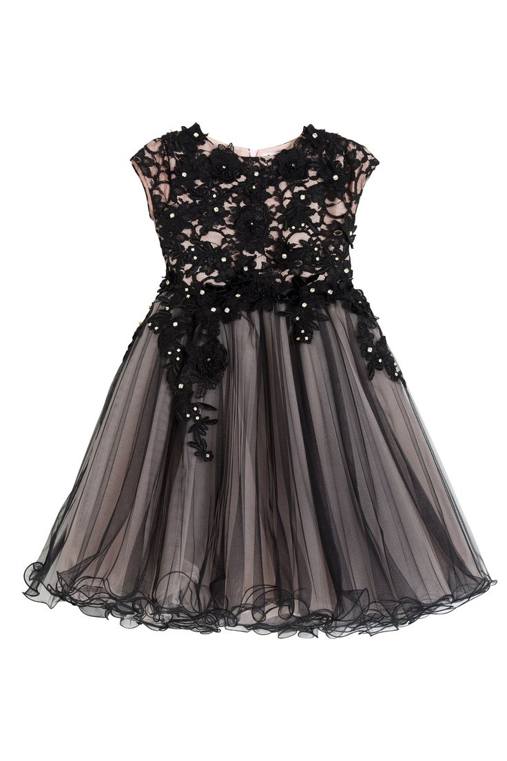 Luxury black and pink dress with short sleeves body in a beautiful black cotton lace with pink lining. The wide circular skirt consists of some layers of black tulle pleated and webs of soft pink tulle. The entire bodice and skirt was hand-embroidered with bright crystals and lace flowers.