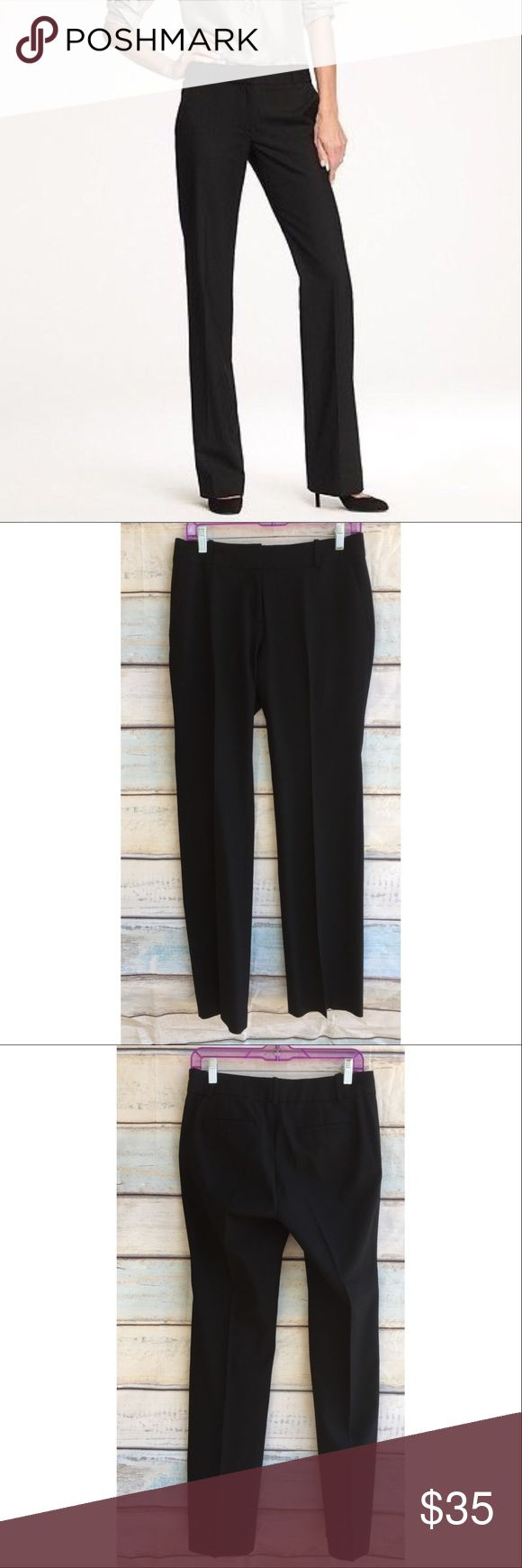 """J Crew Black 1035 Wool City Fit Dress Pant Trouser Description: These sleek pants are designed with a tailored, straight leg that's both polished and flattering. This pair is made from our four-season Super 120s wool.   Super 120s merino wool. Slant pockets, back welt pockets. Unlined. Dry clean.  Approximate Measurements (laying flat): Waist 15.5"""" Rise 8.5"""" Inseam 33""""  Condition: Very good pre-owned condition, no flaws. Fabric: 100% merino wool Designer: J Crew J. Crew Pants Trousers"""