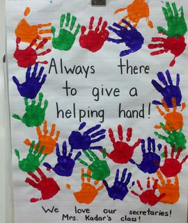 LOVE handprints with little learners!  This was for our office staff!
