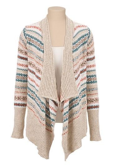 Open Front Fairisle Cardiwrap (original price, $44) available at #Maurices
