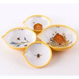 Yellow Bee Kitchen Nested Measuring Cups / Bowls For Baking, Set Of 4,  Stoneware