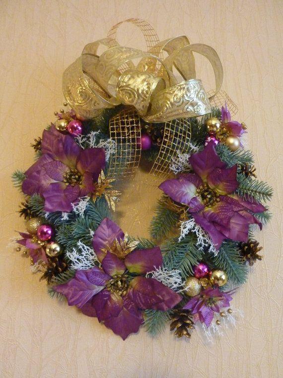 Christmas wreathpoinsettiadoor decoroutside by FlowerKingdomArt