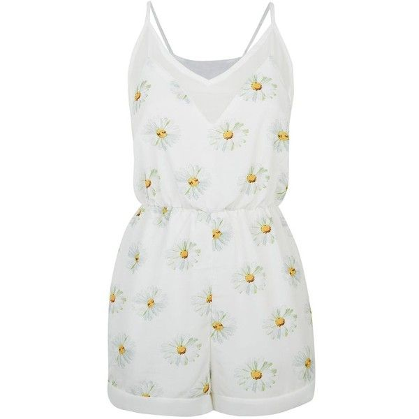 Fashion Union White Strappy Daisy Print Playsuit