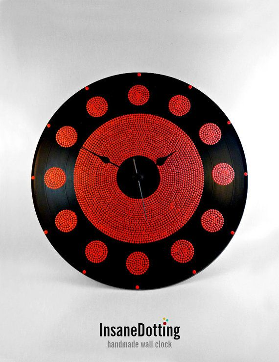 Just Red Circles Vinyl Clock Hand Painted by InsaneDotting on Etsy