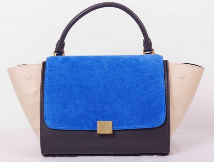 Сумка Celine (Селин) Trapeze bag кожаная черная с синим с бежевым