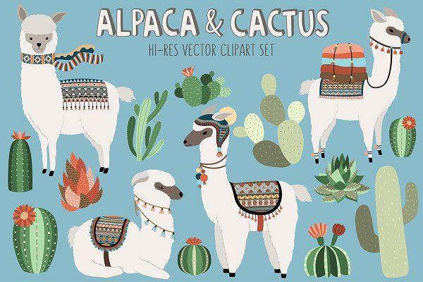 Llama and Cactus Clipart Bundle - Illustrations