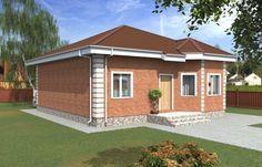 Одноэтажный дом с эркером и террасой Rg5065 Вид1