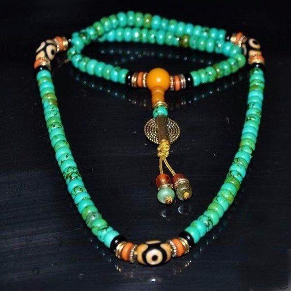 Tibetan Turquoise Dzi Mala Bead Necklace