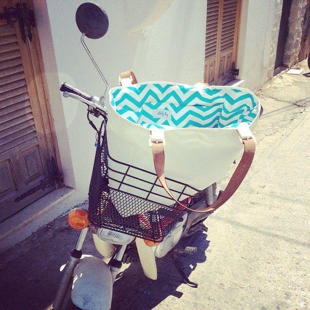 Our #armathea #beachbag enjoying a beautiful #sunday #moto #saltybag #handcrafted #chevron #september #greece #spetses #island #sun #happy