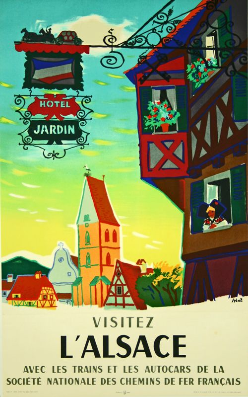 Visitez L'Alsace - France - 1958 - illustration de Abel -