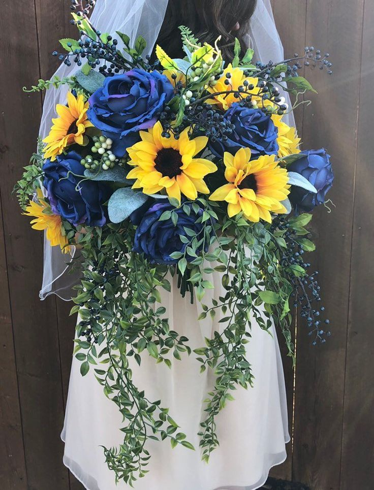 Excited to share this item from my #etsy shop: Navy Blue Sunflower Bridal Bouque…