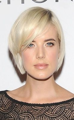 Model Agyness Deyn has a long face shape. These sideswept bangs look great on her.