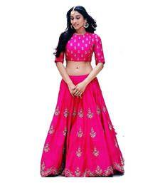 Buy Pink embroidered banglory silk unstitched lehenga choli lehenga-choli online