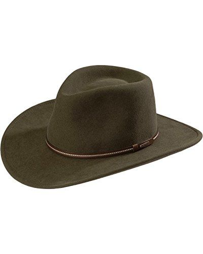 """Stetson Men's Gallatin Sage Green Crushable Wool Hat Sage Large:   You'll appreciate the versatility of a Stetson crushable hat. This pinch front Outdoor Collection Stetson hat boasts the added bonus of crushable, water-repellent wool felt that no traveler should be without. Hat band is finished with a Stetson hat tack. Padded fabric sweatband. 4"""" pinch front crease crown and 3 1/4"""" brim. Stetson Hats are known the world over for innovative western styling on the highest quality cowboy..."""